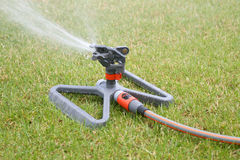 Lawn sprinkler. Spraying water over green grass at summer Stock Images