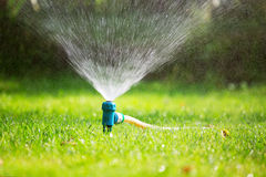 Lawn sprinkler spaying water over green grass Royalty Free Stock Photos