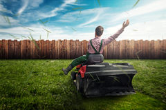 Lawn Tractor. In the garden Royalty Free Stock Photos