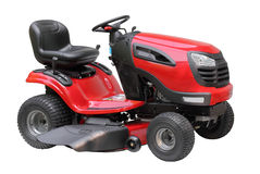 Lawn Tractor Isolated. New red and black lawn tractor isolated on white Stock Photography