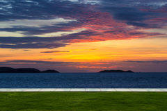 The lawn and twilight empty sea view Royalty Free Stock Image