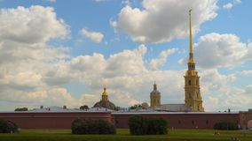 Lawn under the walls of the Peter and Paul Fortress. St. Petersburg Russia. Lawn under the walls of the Peter and Paul Fortress stock video