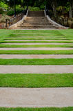 Lawn Walkway to Garden Stairs Stock Photography