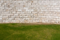 Lawn and Wall Background. Background of grass and modern wall in Los Angeles, California Royalty Free Stock Image