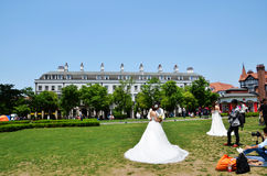 Lawn wedding dress of the bride Royalty Free Stock Photography