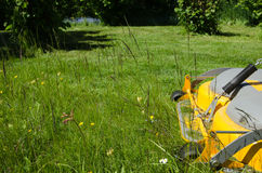Lawncare with a riding mower Stock Photography
