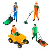 Lawnmower icon set, isometric style stock illustration