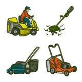 Lawnmower icons set, hand drawn style royalty free illustration