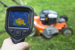 Lawnmower Infrared. Thermal image Analysis of Lawnmower Royalty Free Stock Images
