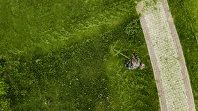 The lawnmower man mows the lawn the view from the top stock image