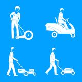 Lawnmower service man icons set, simple style vector illustration