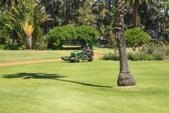 Lawnmower tnąca trawa w Rządowym domu kształtował teren parka Fotografia Stock
