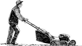 Lawnmower. Vector drawing of the man at work Stock Photography