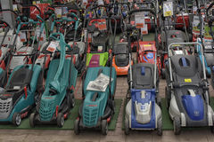 Lawnmowers in the store Royalty Free Stock Photography