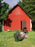 lawnmowing的放松 免版税库存照片