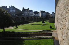 Lawns and Garden along the Walls of Vannes City Stock Photo