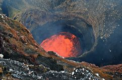 Lawowy jezioro Marum wulkan w Ambrym wyspie, Vanuatu obraz stock