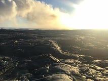 Lawowy przepływ od wulkanu w ocean Dużą wyspę Hawaje Zdjęcie Stock