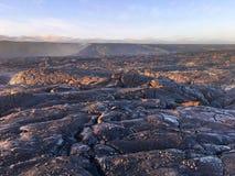 Lawowy przepływ od wulkanu w ocean Dużą wyspę Hawaje Obrazy Stock