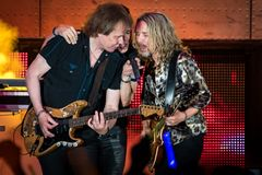 Lawrence Gowan, James Young & Tommy Shaw of STYX in California stock images