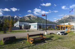 Lawrence Grassi Middle School Building in Canmore Alberta Public Park Stock Photos
