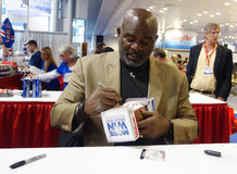 Lawrence Taylor, New York Giants linebacker and Hall of Famer,  during autographs session in New York Stock Photography