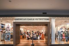 American Eagle outfitters Store Front. Lawrence Township New Jersey, February 24, 2019:American Eagle outfitters Store Front at Quaker Bridge mall royalty free stock images