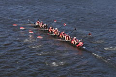 Lawrenceville Crew races in the Head of Charles Regatta Men`s Youth Eight Stock Photo
