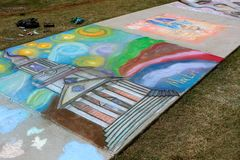 Colorful Chalk Art Covers Sidewalk At Lawrenceville Arts Fest Royalty Free Stock Image