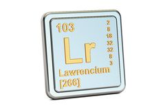 Lawrencium Lr, chemical element sign. 3D rendering Royalty Free Stock Photo