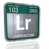 Lawrencium symbol  in square shape with metallic border and transparent background with reflection on the floor. 3D render Royalty Free Stock Image