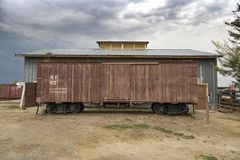 Old Train Carriage. Laws, California, USA: August 30 2017 - Old train carriage at the old west town of Laws near Bishop in California royalty free stock photography