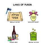 The laws of Purim. Reading Megillat Esther scroll. Mishloach Man Royalty Free Stock Photo