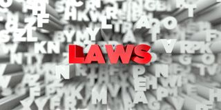 LAWS -  Red text on typography background - 3D rendered royalty free stock image Stock Image