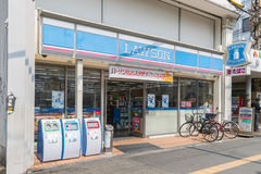 Lawson convenience store. Osaka ,Japan - Mar 20, 2017 : View from outside Lawson convenience store. Lawson is the second largest 24 hours convenience store chain Royalty Free Stock Image