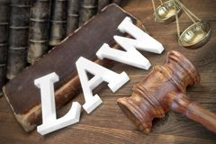 Lawsuit Concept With Sign Law And Judges Gavel Stock Image