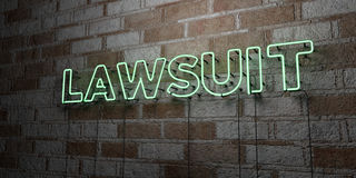 LAWSUIT - Glowing Neon Sign on stonework wall - 3D rendered royalty free stock illustration Royalty Free Stock Photo
