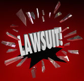 Lawsuit Word Smashing Glass Sue Claim Court Damages. Lawsuit word breaking through red glass to illustrate legal action brought by a plantiff against a defendant Royalty Free Stock Photos
