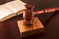 Lawsuits. Gavel and book of justice on the table in the courtroom Royalty Free Stock Photography
