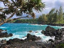 Lawy skały wybrzeże blisko Hana, Maui Zdjęcia Stock