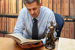 Lawyer. One lawyer reading a book Royalty Free Stock Photos