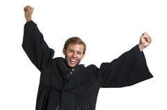 Lawyer. Young lawyer dressed with a toga isolated in white royalty free stock photo