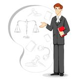 Lawyer. Vector illustration of lawyer with book in court backdrop Royalty Free Stock Photo