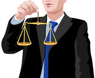Lawyer. Vector illustration depicts lawyer with balance Royalty Free Stock Photography