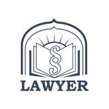 Lawyer or advocate vector isolated icon or emblem. Lawyer emblem for juridical or notary company. Vector sign or badge for law attorney or advocacy assistant Royalty Free Stock Photo
