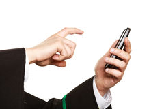 Lawyer arms use smartphone touch screen. Royalty Free Stock Photos