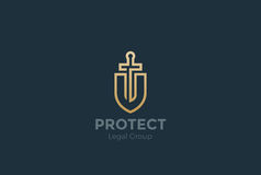 Lawyer Attorney Logo vector Shield Sword Law Legal Royalty Free Stock Image