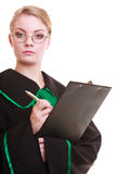 Lawyer attorney in polish black green gown Stock Photos