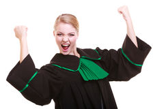 Lawyer attorney in polish black green gown winning Stock Image