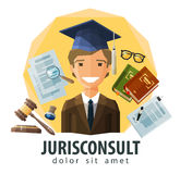 Lawyer, attorney vector logo design template. Happy lawyer in hat graduate. vector. flat illustration Royalty Free Stock Images